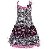Lipstik Zebra Print Pink Heart Dot Ruffled Dress Toddler Girls 2T-4T