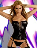 Passion Bes Black Wet-Look Basque and String Set