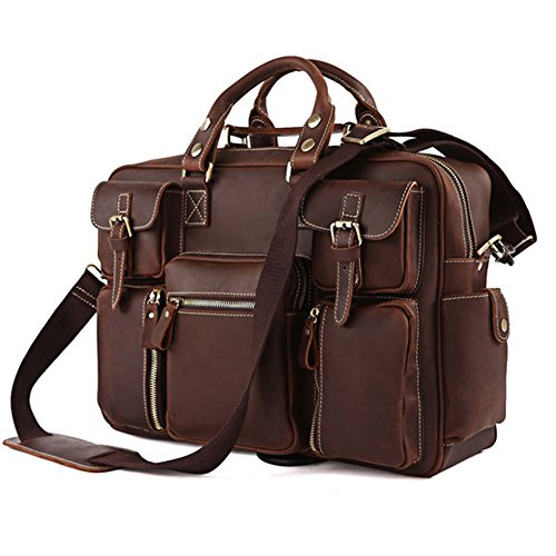 Bags World High Quality Handmade bags 100% Rare Crazy Horse HANDMADE Leather Men's Briefcase Laptop Bag Dispatch...