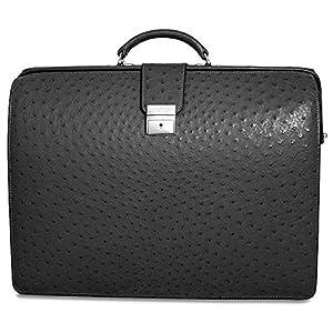 Genuine Ostrich Classic Leather Laptop Briefcase Color: Black