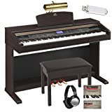 Yamaha Arius YDPV240 YDP-V240 Digital Piano Keyboard Bundle with Bench, Headphones, Lamp, Flash Drive and Fasttrack Book/CD