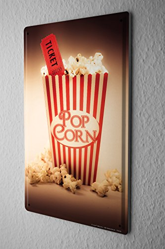 Tin Sign Jorgensen Photography Photo images popcorn cinema ticket movie ticket movie 20x30 cm Large Metal Wall Decoration Vintage Retro Classic Plaque (Popcorn Room Decor compare prices)