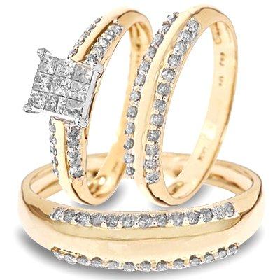 1 CT. T.W. Round, Princess Cut Diamond Three Ring Matching Wedding Ring Set 14K Yellow Gold Three Ring - Ladies Engagement Ring, Wedding Band & Mens Wedding Band - Free Gift Box -
