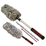 Microfiber Car Duster by Drought Buster Clean Car Quickly w/o Water. Streak, Scratch, Lint Free. Long Unbreakable Stainless Steel Extendable Handle. Lift Car, Household Dust Now (Gray)