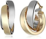 14k White and Yellow Gold Two-Tone Satin and Polished Crossover Hoop Earrings