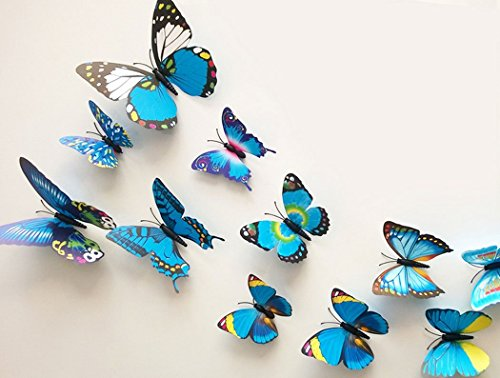 24-Pcs-3D-Butterfly-Wall-Stickers-Art-Decor-Decals