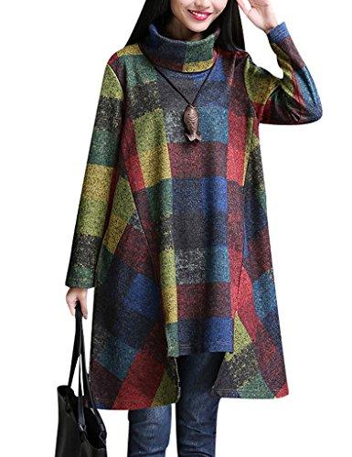 youlee-donna-collo-ad-anello-plaid-colore-bloccare-irregolare-vestito-reale-blu-xl