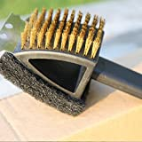 High Quality BBQ Grill Brush with Long Handle, Convenient Scrub Pad, Tough Scraper and Thicker Bristles, By G-BOX