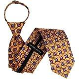 ZIP-11608 - Zipper Pattern Necktie - Orange Lavender Coral