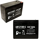 2x Pack UB12100-S Universal Sealed Lead Acid Battery Replacement (12V, 10Ah, 10000mAh, F2 Terminal, AGM, SLA) - Compatible with Schwinn S400 Battery, S350, S500, Missile FS, S180, Razor Rebellion Chopper, Schwinn S750, Schwinn S600, Mongoose M350, Mongoose M200, Schwinn S1000