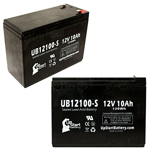 2X Pack - Gt Gt-500 Battery - Replacement Ub12100-S Universal Sealed Lead Acid Battery (12V, 10Ah, 10000Mah, F2 Terminal, Agm, Sla)
