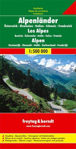 Los Alpes, mapa de carreteras. Austria, Eslovenia, Austria, Suiza y Francia. Escala 1:500.000. Freytag & Berndt: Österreich / Slowenien / Italien / ... Ortsregister mit Postleitzahlen (Europa)