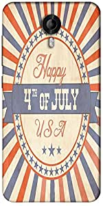 Snoogg Independence Day Greeting Card In Vintage Style Designer Protective Back Case Cover For Micromax Canvas Nitro 3 E455