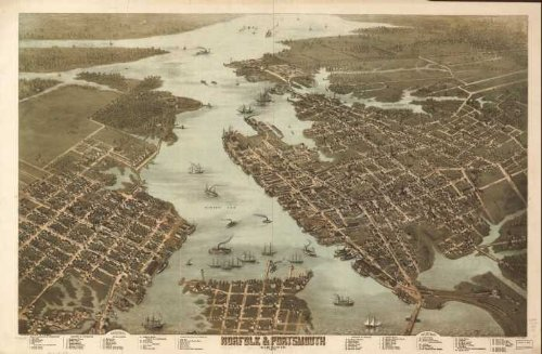 GIANT Wall Sticker of: Panoramic map of historic Norfolk & Portsmouth, Virginia 1873 Drawn and published by C. N. Drie.