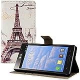 kwmobile Wallet Case Kunstlederhülle für LG Optimus L9 - Cover Flip Tasche in Stadt Design (Paris) mit Kartenfach und Ständerfunktion in Schwarz Weiß