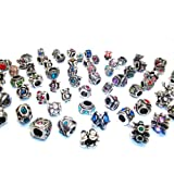 Nambeads © 10 x Mixed Rhinestone Tibetan Spacer Beads/Charms to fit Pandora style charm bracelets.Slide on/off-Hole is 5mm. Check out our affordable bulk packs of glass beads,charms,clip stops,rhinestones,enamels etc. Great mix!