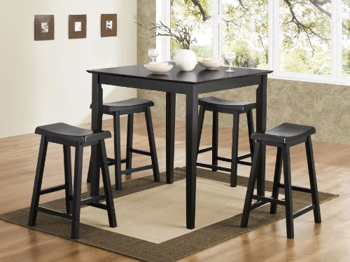 Cute pc Counter Height Dining Table and Stools Pub Set in Black Finish