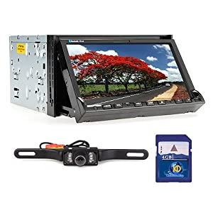 Ouku 7-inch 2 Din TFT Screen In-dash Car DVD Player + Car Rear View Camera with Night Vision + Kudos GPS Map Card, with 4gb Standard Sd Card