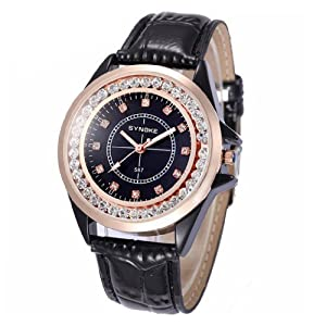 Felix Ladies Casual Watch Black Dial with Czech Rhinestone Match Black Band Fahion Gift 35873RS