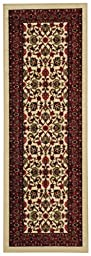 Anti-Bacterial Rubber Back LONG RUGS RUNNERS Non-Skid/Slip 3x10 Runner Rug | Ivory Traditional Floral Indoor/Outdoor Thin Low Profile Modern Home Floor Kitchen Hallways Colorful Decorative Rug