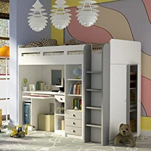 Brand New Kids Children Bedroom Cabin Bunk Bed COMBI with a Wardrobe and Computer Desk White/Grey sold by Arthauss