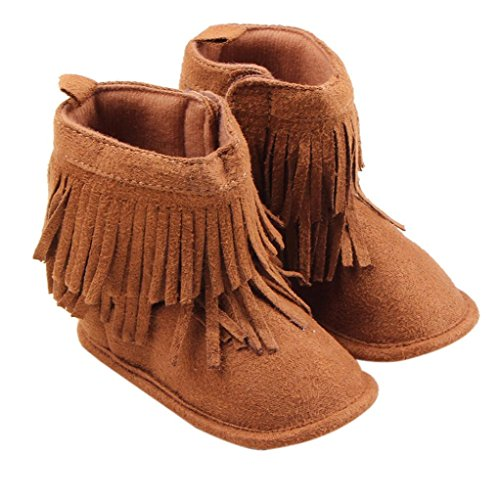 Creazy®Toddler Infant Newborn Baby Girl Shoes Soft Sole Boots Prewalker Tassel (12)