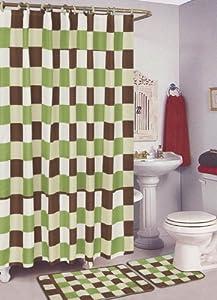 SALLY+TEXTILES+INC SALLY TEXTILES Checker Bath Rug, Sage/Brown