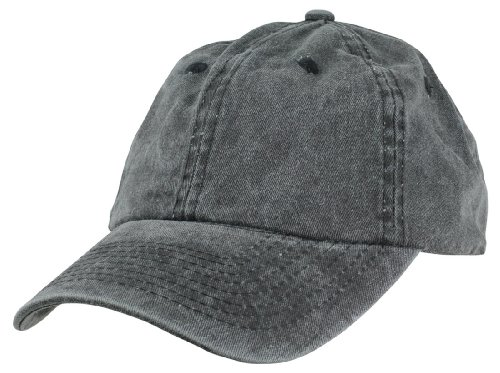 Mens Pigment Dyed Washed Cotton Cap - Adjustable Hat 6 Panel Unstructured (Heavy Washed Black) (Six Panel Hat compare prices)