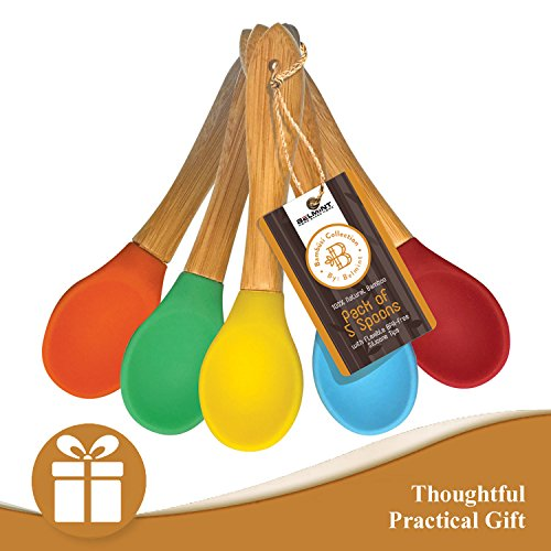 Bambüsi by Belmint 100% Natural Bamboo Spoons with Flexible BPA-Free Silicone Tips