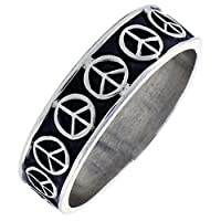 1/4 (7 mm) Sterling Silver Hand Made Peace Sign Ring