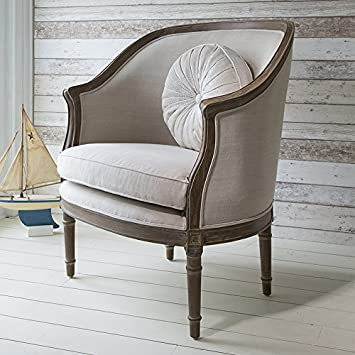 Solid Maison Armchair Weathered with Linen - Antique yet Stylish BL-5055299491317