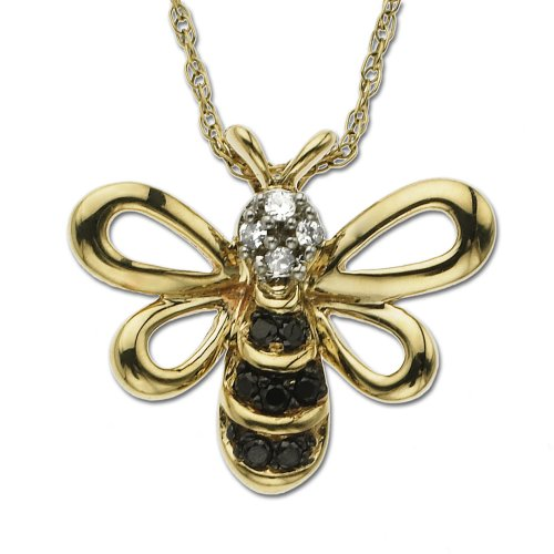 XPY 14k Yellow Gold Black and White Diamond Bee Pendant (.05 cttw, J Color, I2 Clarity), 18""