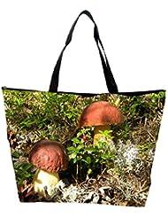 Snoogg Yellow Stem Mushroom Designer Waterproof Bag Made Of High Strength Nylon