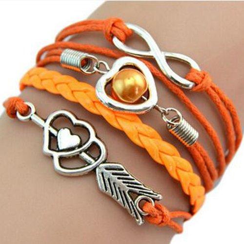 Amore Cuore braccialetto - SODIAL(R)Trendy Donne Infinity Amicizia antica sveglia del cuoio del braccialetto di fascino (arancione)
