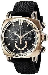 Ritmo Mundo Mens 2221/8 Rose Gold Black Racer Analog Display Swiss Quartz Black Watch