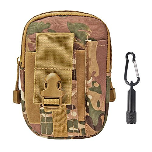 Tactical Pouch - Compact Water-resistant Molle EDC Utility Gadget Gear Tools Organizer - Bundled with Keychain Flashlight£¨CP) (Hot Heads Pot Holder compare prices)