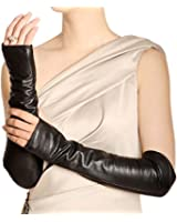 Warmen Women Genuine Nappa Leather Elbow Long Fingerless Driving Gloves ARM Warmer