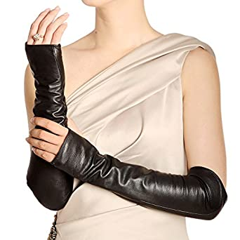 WARMEN Women Genuine Nappa Leather Elbow Long Fingerless Driving Gloves for Fur Coat (M, Black)