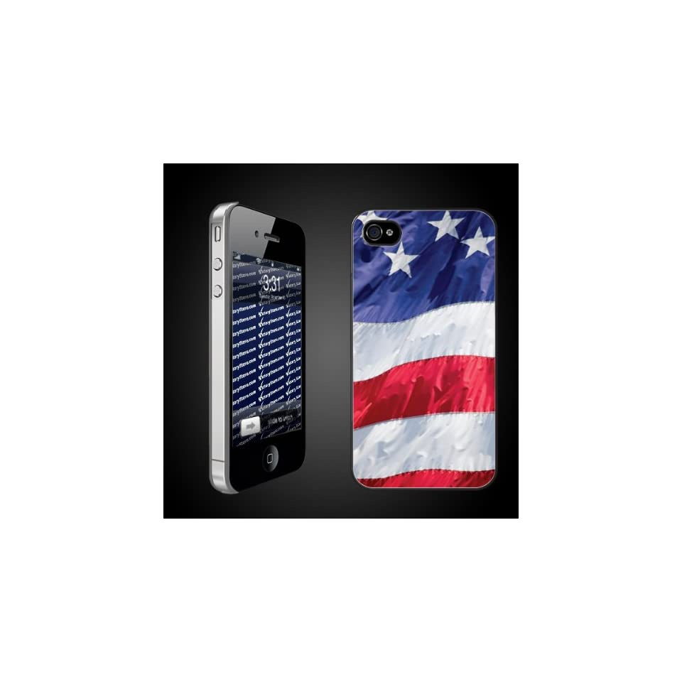 United States Flag iPhone Hard Case   Black Protective Cover for iPhone 4/4s