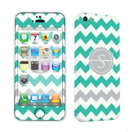 Skinguardz Vinyl Decal Sticker Skin For Apple Iphone 5C - Mint Chevron Monogram Initial S front-570928
