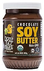 Don't Go Nuts Organic Soy Butter, Chocolate, 16oz BPA Free Plastic Jar (6 Pack): Non-GMO, Gluten Free, Vegan, Kosher-Dairy, Peanut & Tree Nut Free