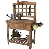 Gardening Potting Bench with Inside Storage, Outside Shelving, Tool Trellis and Garden Gloves Bundle