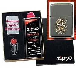 """Green Matte U.S. Army Logo"" Zippo Lighter Gift Set"