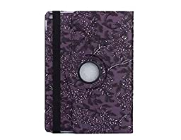iPad Pro Case,Topchances 360 Rotating PU Leather Protective Stand Cover for iPad Pro 12.9 Inch -World Map Pattern (Darke Purple)