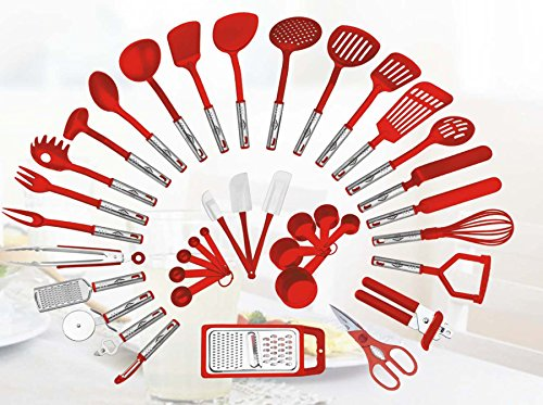 38-piece Kitchen Utensils Set Home Cooking Tools Gadgets Turners Tongs Spatulas Pizza Cutter Whisk Bottle Opener, Graters Peeler, Can Opener, Measuring Cups Spoons (Red) (Red Kitchen Utensils compare prices)
