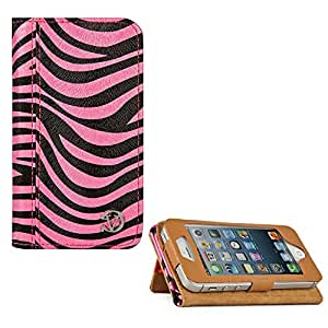 VanGoddy Zebra Print Mary Portfolio Self Stand Case Cover For Apple iPhone SE / 5SE (Pink)