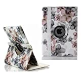 Ruban Fabulous A style flower 360 degree rotating case for iPad4, ipad 3, ipad2, Multi-Function PU Leather Stand Case / Cover, With super Auto Sleep Wake Function (FOR IPAD4/3/2, #Flower-White)