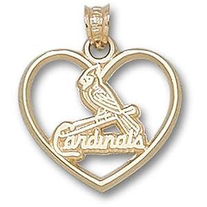 St. Louis Cardinals MLB One Bird Heart Pendant (14kt) by Logo Art