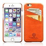 iphone6/iphone6sケース 4.7インチ VISOUL®【カード収納 背面】薄い型 高級本革レザー ヴィンテージ スマホカバー(オレンジ)