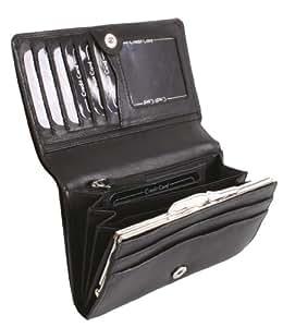 Porte-monnaie à bouton-pression pour femme OTARIO, cuir véritable, noir 12,5x10,5cm